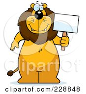 Royalty Free RF Clipart Illustration Of A Lion Standing And Holding A Sign