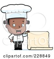 Royalty Free RF Clipart Illustration Of A Black Female Toddler Chef Holding A Blank Menu