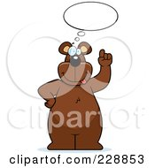 Royalty Free RF Clipart Illustration Of A Big Bear Thinking With A Balloon by Cory Thoman