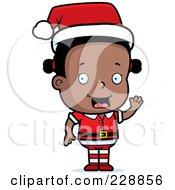 Royalty Free RF Clipart Illustration Of A Black Female Toddler Christmas Helper Waving