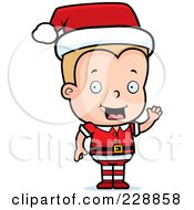 Royalty Free RF Clipart Illustration Of A Blond Male Toddler Christmas Helper Waving