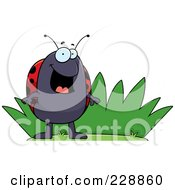 Royalty Free RF Clipart Illustration Of A Happy Ladybug By Grass by Cory Thoman