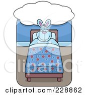 Royalty Free RF Clipart Illustration Of A Happy Rabbit Dreaming In Bed by Cory Thoman