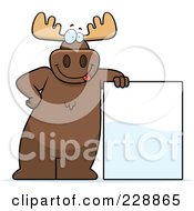 Royalty Free RF Clipart Illustration Of A Moose Leaning On A Blank Sign