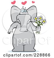 Royalty Free RF Clipart Illustration Of An Elephant Standing With Flowers by Cory Thoman