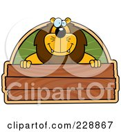 Royalty Free RF Clipart Illustration Of A Lion Above A Blank Wooden Sign