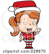 Royalty Free RF Clipart Illustration Of A Female Toddler Christmas Helper Waving