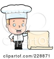 Royalty Free RF Clipart Illustration Of A Blond Male Toddler Chef Holding A Blank Menu