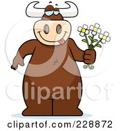 Royalty Free RF Clipart Illustration Of A Bull Holding Daisies
