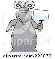 Royalty Free RF Clipart Illustration Of A Ram Standing And Holding A Sign