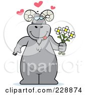 Royalty Free RF Clipart Illustration Of A Ram Standing And Holding Flowers