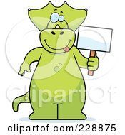 Royalty Free RF Clipart Illustration Of A Triceratops Standing And Holding A Sign