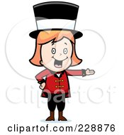 Royalty Free RF Clipart Illustration Of A Blond Circus Woman Wearing A Hat And Presenting