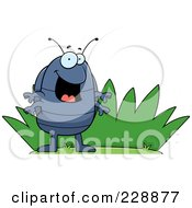 Royalty Free RF Clipart Illustration Of A Happy Pillbug By Grass