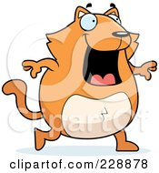 Royalty Free RF Clipart Illustration Of A Chubby Orange Cat Walking