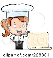 Royalty Free RF Clipart Illustration Of A Female Toddler Chef Holding A Blank Menu