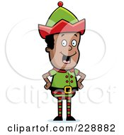Royalty Free RF Clipart Illustration Of A Happy Black Elf Standing With His Hands On His Hips