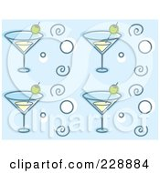 Royalty Free RF Clipart Illustration Of A Background Pattern Of Martini Glasses Circles And Spirals On Blue by Cory Thoman