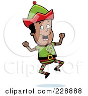 Royalty Free RF Clipart Illustration Of A Happy Black Elf Jumping