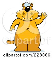 Royalty Free RF Clipart Illustration Of A Chubby Ginger Cat Standing And Waving
