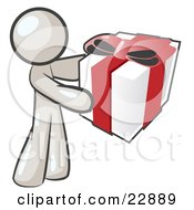 Clipart Illustration Of A Thoughtful White Man Holding A Christmas Birthday Valentines Day Or Anniversary Gift Wrapped In White Paper With Red Ribbon And A Bow
