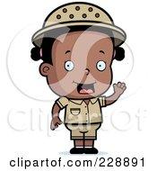 Royalty Free RF Clipart Illustration Of A Black Toddler Safari Girl Waving