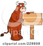 Royalty Free RF Clipart Illustration Of A Bull Pointing To A Blank Wooden Sign
