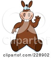 Royalty Free RF Clipart Illustration Of A Donkey Sitting And Waving by Cory Thoman