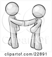 Clipart Illustration Of A White Man Wearing A Tie Shaking Hands With Another Upon Agreement Of A Business Deal