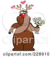 Royalty Free RF Clipart Illustration Of A Reindeer Standing And Holding Flowers by Cory Thoman