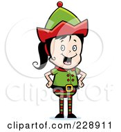 Royalty Free RF Clipart Illustration Of A Happy Female Elf Standing With Her Hands On Her Hips
