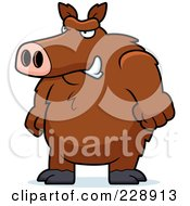 Royalty Free RF Clipart Illustration Of A Big Angry Boar Standing