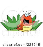 Royalty Free RF Clipart Illustration Of A Happy Caterpillar By Grass by Cory Thoman