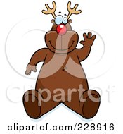 Royalty Free RF Clipart Illustration Of A Reindeer Sitting And Waving by Cory Thoman