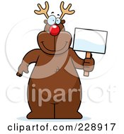 Royalty Free RF Clipart Illustration Of A Reindeer Standing And Holding A Sign by Cory Thoman