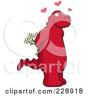 Royalty Free RF Clipart Illustration Of A Red Dinosaur Holding Flowers Behind His Back