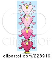 Totem Pole Of Pink Heart Shaped Love Birds