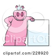 Royalty Free RF Clipart Illustration Of A Hippo Leaning Against A Blank Sign