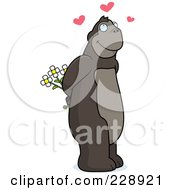 Royalty Free RF Clipart Illustration Of A Romantic Ape Holding Flowers Behind His Back by Cory Thoman