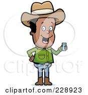 Royalty Free RF Clipart Illustration Of A Black Cowboy Holding A Glass Of Water