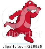 Royalty Free RF Clipart Illustration Of A Red Dinosaur Running