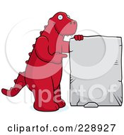 Royalty Free RF Clipart Illustration Of A Red Dinosaur Holding And Pointing To A Stone Sign