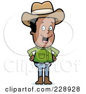 Royalty Free RF Clipart Illustration Of A Black Cowboy Standing With His Hands On His Hips