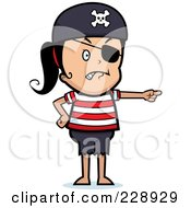 Royalty Free RF Clipart Illustration Of A Pirate Girl Pointing