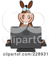 Royalty Free RF Clipart Illustration Of A Donkey Using A Desktop Computer by Cory Thoman