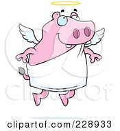 Royalty Free RF Clipart Illustration Of A Pink Hippo Angel
