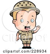 Royalty Free RF Clipart Illustration Of A Blond Toddler Safari Boy Waving