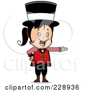 Royalty Free RF Clipart Illustration Of A Black Haired Circus Woman Wearing A Hat And Presenting