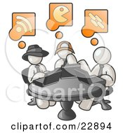 Clipart Illustration Of Three White Men Using Laptops In An Internet Cafe