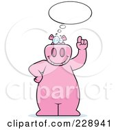 Royalty Free RF Clipart Illustration Of A Hippo With An Idea
